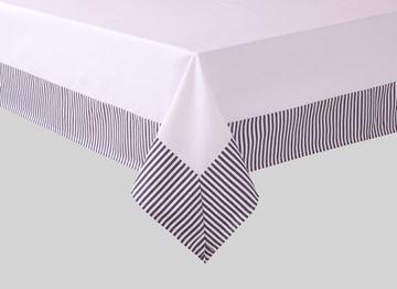 Resim Koton Beyaz Lacivert  Çizgili Dikdörtgen Masa Örtü