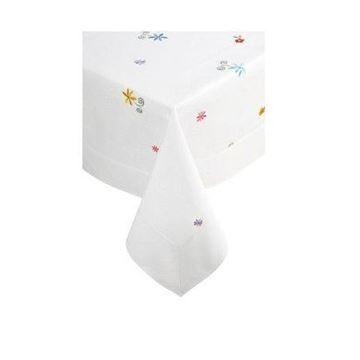 Resim Koton Beyaz Renkli  Çiçek Nakışlı Dikdörtgen Masa Örtüsü