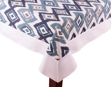 Resim Koton Beyaz Lacivert Mavi İkat Dikdörtgen Masa Örtü