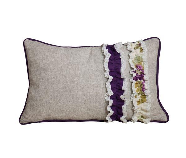 resm Yastıkminder Mor ve Çiçek Desen Fırfırlı Yastık