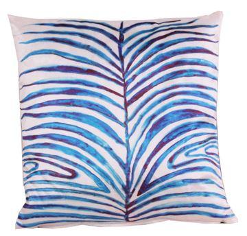 Resim Kadife Koton Mavi Beyaz Yaprak Figürlü Baskılı Dekoratif Yastık Kılıfı