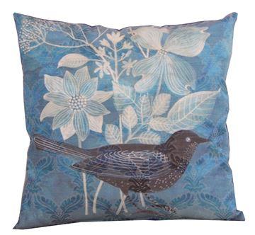 Resim Koton Tafta Lacivert Kuş Çiçek demeti Baskılı dekoratif yastık