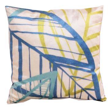Resim Kadife Koton Mavi Fıstık Beyaz Yaprak Figürlü Baskılı Dekoratif Yastık Kılıfı