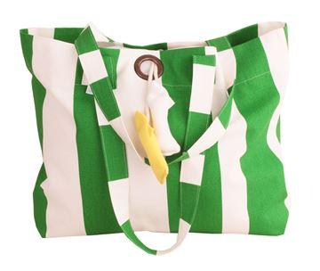 Resim Koton Yeşil Beyaz Çizgili Kuşgözü Balık Sarkaçlı Çanta