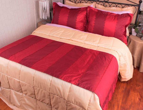 resm Tafta Kırmızı Bordo Badem Çizgili Yatak Throw Şalı Runneri