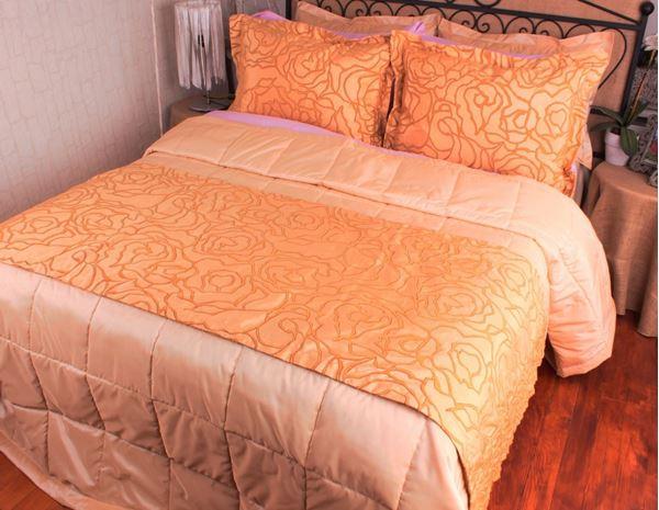 resm Tafta Sarı Karamel Flok Baskı Helezon Desen Yatak Throw Şalı Runneri