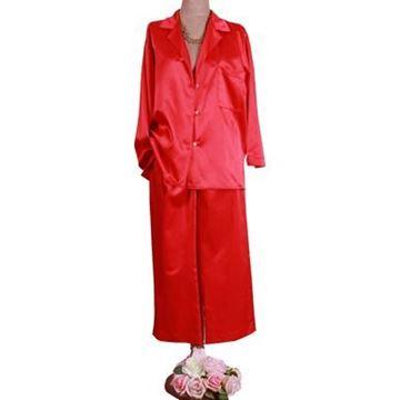 Resim Saten Koton Alev  Paçalı Pijama