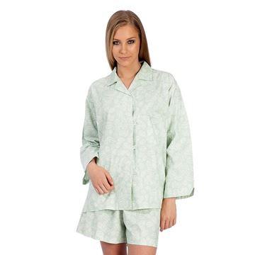 Resim Yaprak Bebe Mavi Koton Şort Pijama