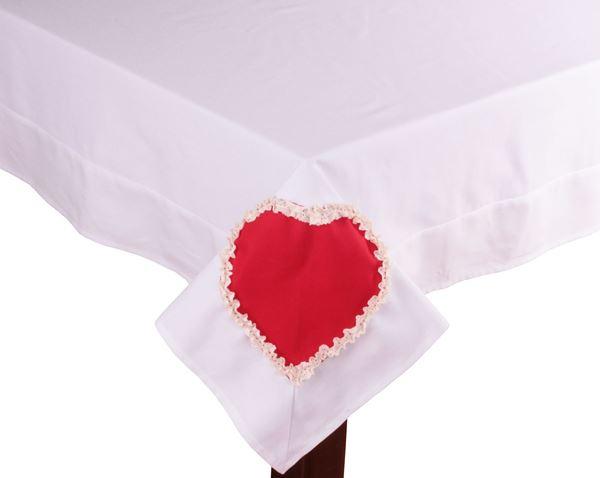 resm Koton Beyaz Kırmızı Kalpli Kare Masa Örtü