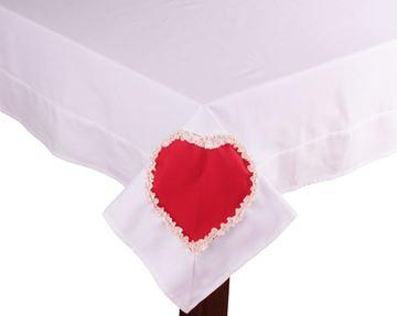Resim Koton Beyaz Kırmızı Kalpli Dikdörtgen Masa Örtü