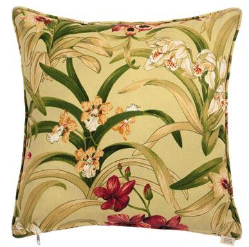 Resim Koton Fıstık Yeşil Egzotik Çiçekler Dekoratif Yastık
