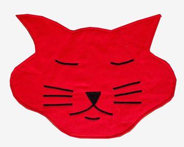 Resim Koton Kedi Formunda Kırmızı Piko Nakışlı Amerkan Servis