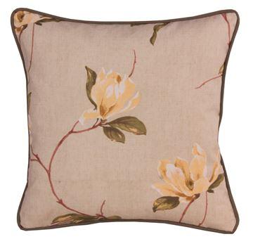 Resim Koton Haki Fıstık Manolya Çiçekler Dekoratif Yastık Kılıfı