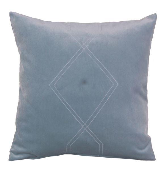 resm Kadife Mavi Geometrik Dikişli Dekoratif Yastık Kılıfı