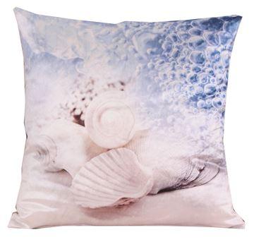 Resim Kadife Koton Mavi Beyaz Sahil Deniz Kabukları  Baskılı Dekoratif Yastık Kılıfı