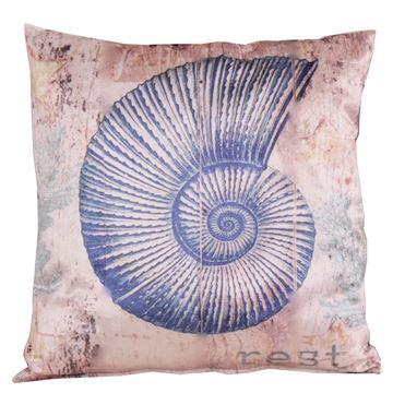 Resim Kadife Koton Lacivert Beyaz Deniz Kabuğu Figürlü Baskılı Dekoratif Yastık Kılıfı