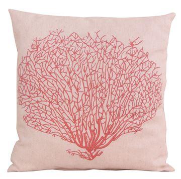Resim Keten Polyester Kırmızı Kum Mercan Figürlü Dijital Baskı Dekoratif Yastık Kılıfı