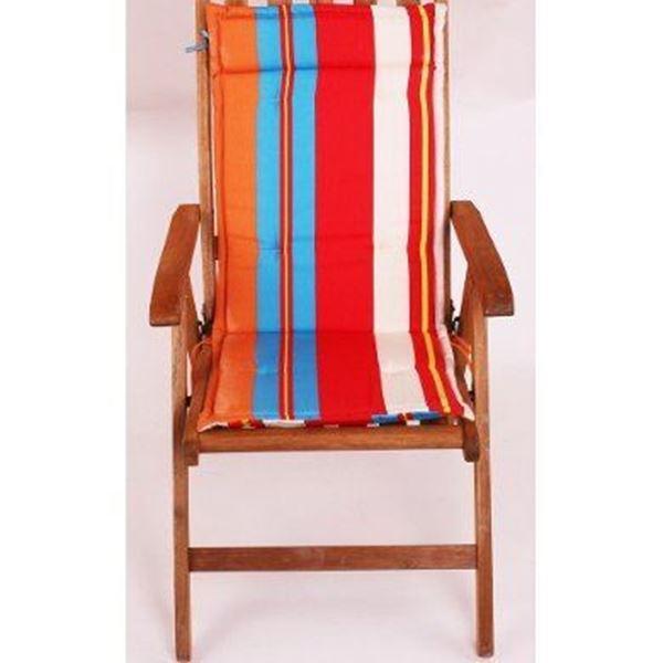 resm Koton Çift Kademeli Turkuaz Kırmızı Çizgili Sandalye Minderi