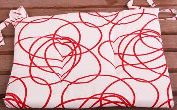 Resim Koton Beyaz Kırmızı Helezon Desen Sandalye Minderi