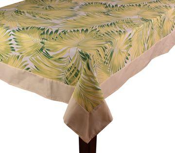 Resim Koton Sarı Yeşil Palmiye Yapraklar Dikdörtgen Masa Örtü