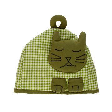 Resim Koton Yeşil Piyedeul kedi Formunda çaydanlık kılıfı