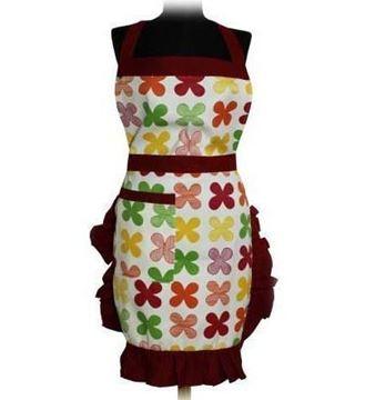 Resim Bordo Çerçeveli Renkli Çiçek Desenli Mutfak İş Önlüğü