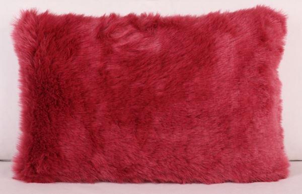 resm Polyester Pelüş Pembe Dekoratif Yastık Kılıfı