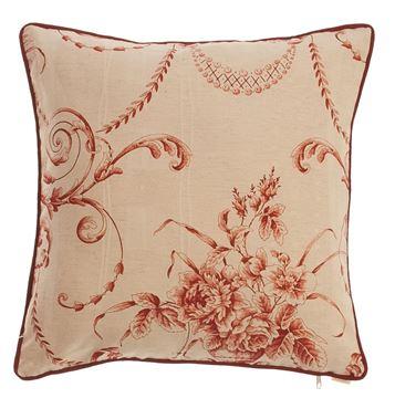 Resim Yastıkminder Koton Bej Bordo Fitilli Barok Desen Dekoratif Yastık