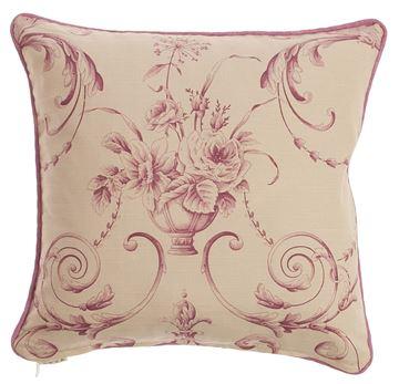 Resim Yastıkminder Koton Kemik Pembe Fitilli Barok desen Dekoratif Yastık