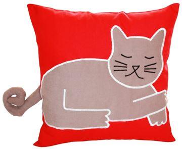 Resim Yastıkminder Koton Kırmızı Kahve Kedi  Formunda Dekoratif Yastık