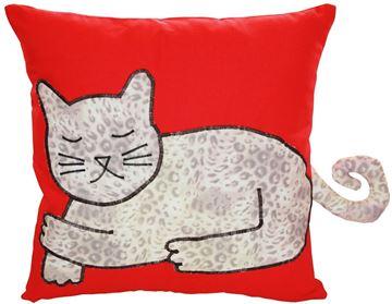 Resim Yastıkminder Koton Kırmızı Lopar Kedi Formunda Dekoratif Yastık