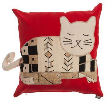 Resim Yastıkminder Koton Kırmızı Bej Kedi Formunda Yastık