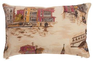 Resim Yastıkminder Koton Ekru Taba Venedik Temalı Dekoratif Yastık