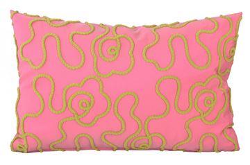 Resim Tafta Pembe Fıstık Yeşil Nakışlı Dekoratif Yastık Kılıfı