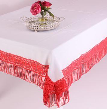 Resim Koton Beyaz Kırmızı Dantelli Dikdörtgen Masa Örtü