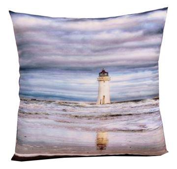 Resim Koton Polyester Lacıvert Ekru Deniz Feneri Baskı Dekoratif Yastık