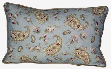 Resim Yastıkminder Mavi Fıstık Keten Şal Desen Yastık