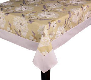 Resim Keten Fıstık YEŞİL Beyaz Güller Dikdörtgen Masa Örtü