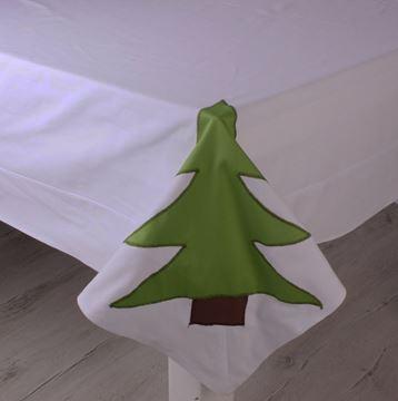 Resim Koton Beyaz Yeşil Ağaçlı Dikdörtgen Masa Örtüsü