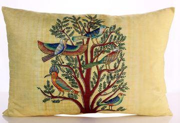 Resim Yastıkminder Kadife Sarı Papirus Ağaçta Kuşlar Dijital Baskı Büyük Yastık