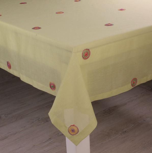resm Keten Fıstık Renk Nakışlı Dikdörtgen Masa Örtü