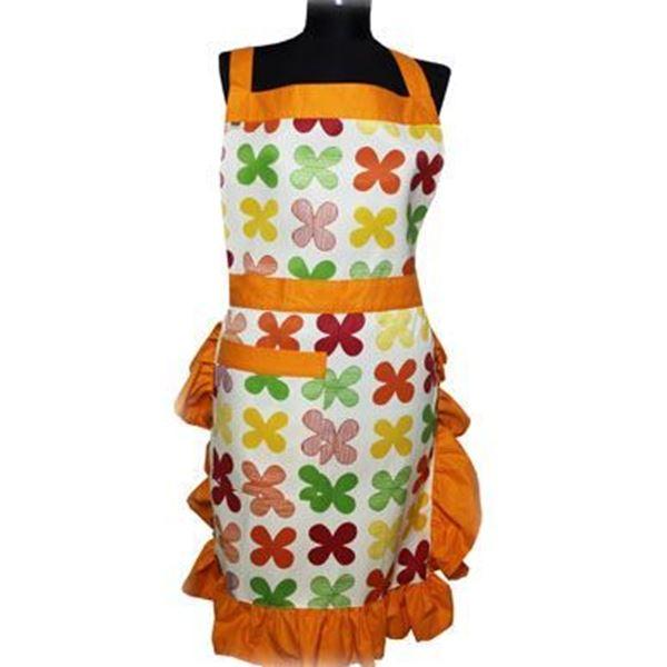 resm Turuncu Çerçeveli Renkli Çiçek Desenli Mutfak İş Önlüğü