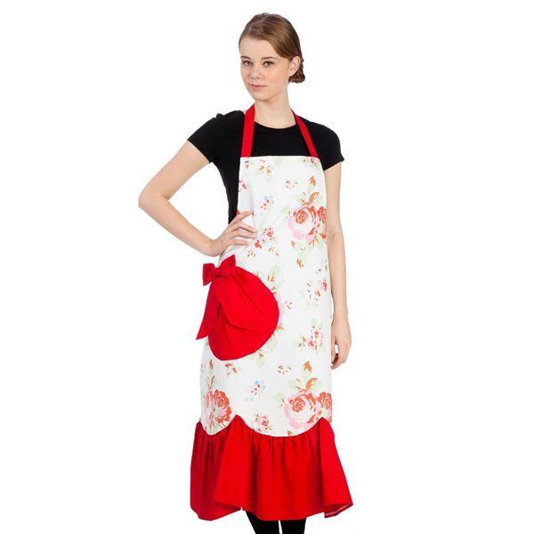 resm Koton Kırmızı Güller Mutfak İş Önlüğü