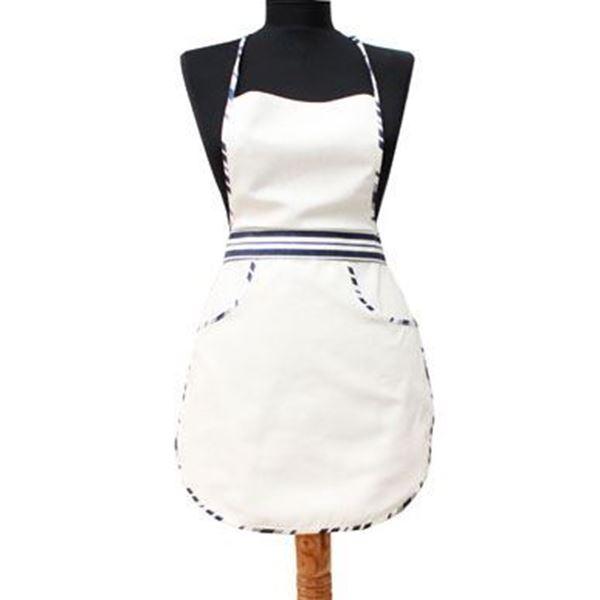 resm Koton Beyaz Lacivert Biyeli Mutfak İş Önlüğü