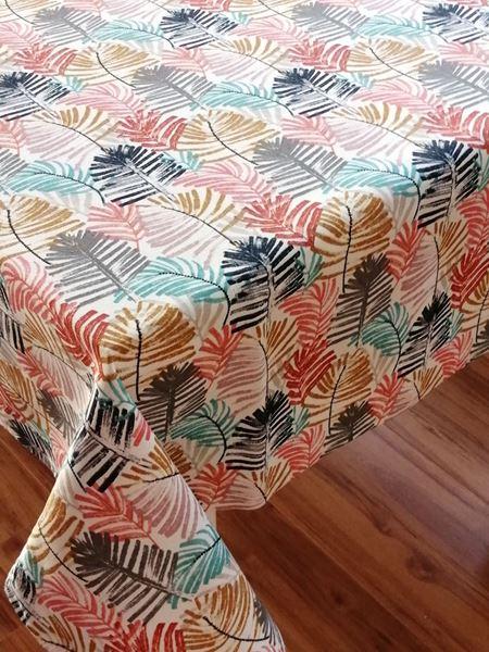 resm Koton Kumaş Renkli Palmiye Yaprakları Desen Dikdörtgen Masa Örtüsü