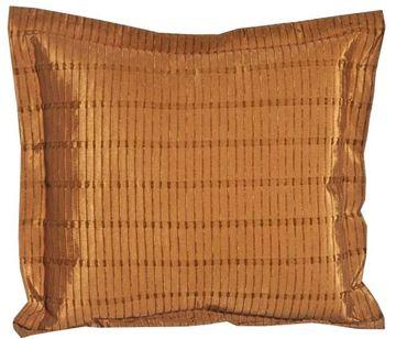 Resim Yastıkminder Tafta Kumaş Bürümcük Taba Renk İplik Desenli Yastık KILIFI